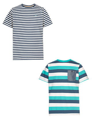 2 Pack Pure Cotton Striped T-Shirts Clothing