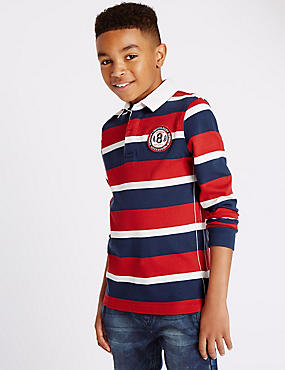Pure Cotton Striped Rugby Top (5-14 Years)