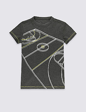 Basketball Court Print T-Shirt (5-14 Years)