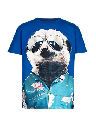 Pure Cotton Graphic Animal Print T-Shirt Clothing