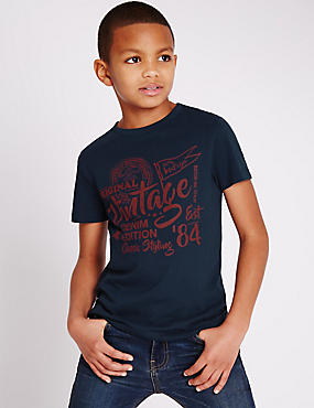 Pure Cotton Short Sleeve T-Shirt (3-14 Years)