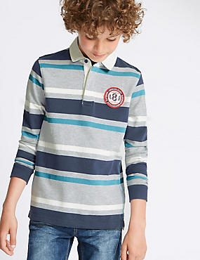 Cotton Rich Striped Rugby Top (5-14 Years)