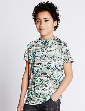 Pure Cotton Palm Print T-Shirt (5-14 Years)