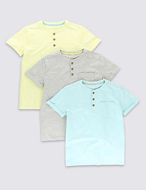 3 Pack Cotton Rich Henley Neck T-Shirts (5-14 Years)