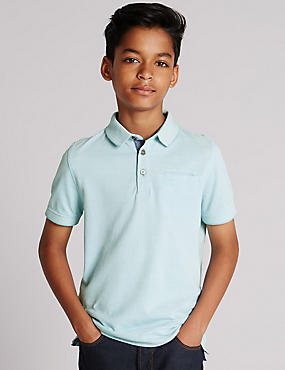 Pure Cotton Birdseye Polo Shirt (5-14 Years)