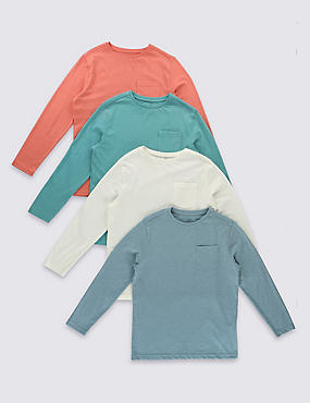 4 Pack Long Sleeve T-Shirts (5-14 Years)