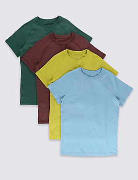 4 Pack Cotton Blend Short Sleeve T- Shirts (5-14 Years)
