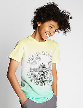 Pure Cotton Dip Dye Palm Resort T-Shirt (5-14 Years)
