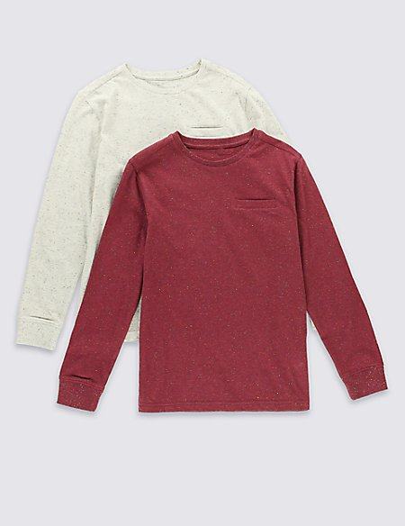 2 Pack Cotton Rich Long Sleeve T-Shirt (5-14 Years)