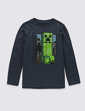 Minecraft Vintage Creeper Long Sleeve T-Shirt (5-14 Years)