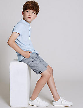 Pure Cotton Herringbone Chino Shorts (3-14 Years)