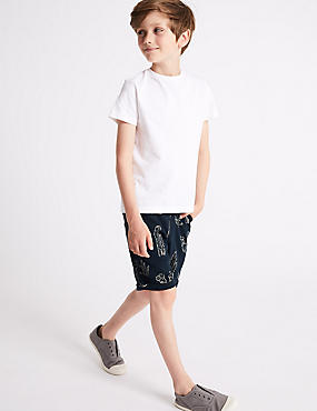 Pure Cotton Palm Print Shorts (3-16 Years)