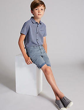 Double Face Chino Shorts (3-16 Years), PALE BLUE, catlanding