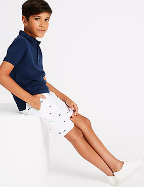 Cotton Shorts with Stretch (3-16 Years), SOFT WHITE, catlanding