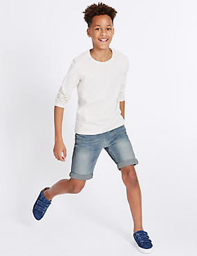 Cotton Elastic Waist Denim Shorts with Stretch (3-14 Years)