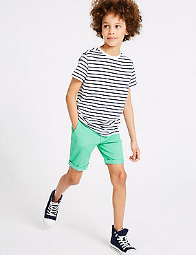 PLUS Cotton Shorts with Stretch (3-16 Years), SEA GREEN, catlanding