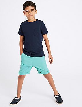 Linen Rich Shorts (3-16 Years), DARK TURQUOISE, catlanding