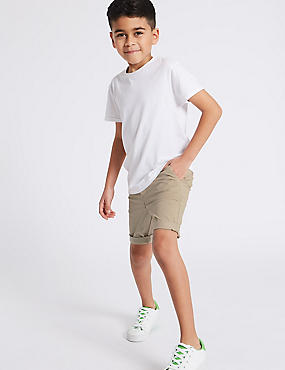 PLUS Cotton Shorts with Stretch (3-16 Years), STONE, catlanding