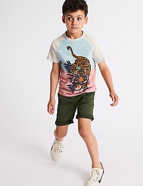 Cotton Rich Khaki Shorts (3-16 Years), KHAKI, catlanding