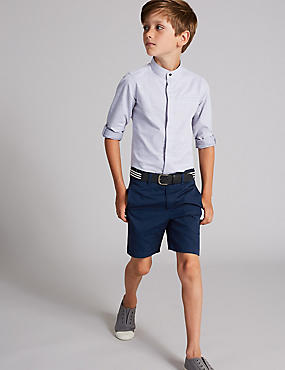 Pure Cotton Shorts with Belt (3-16 Years), ROYAL BLUE, catlanding