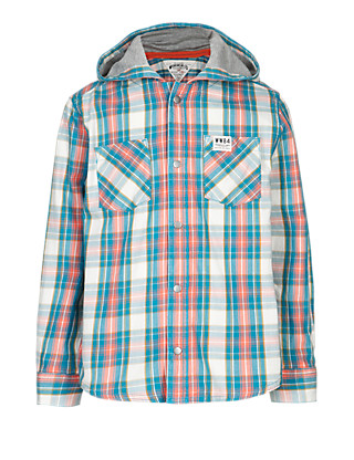 Pure Cotton Hooded Checked Shirt (5-14 Years) Clothing