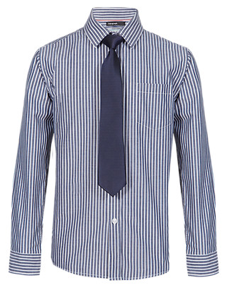 Pure Cotton Striped Shirt with Tie (5-14 Years) Clothing