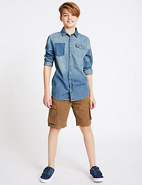 Pure Cotton Cargo Shorts (3-14 Years)