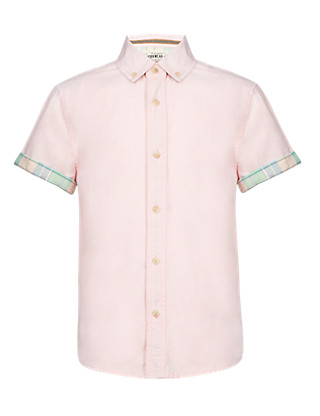 Pure Cotton Short Sleeve Oxford Shirt Clothing