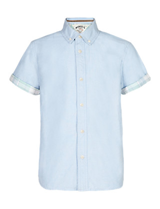 Pure Cotton Button-Down Collar Oxford Shirt (5-14 Years) Clothing