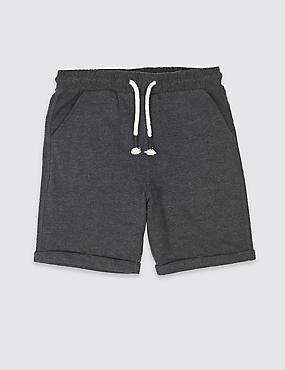 Cotton Rich Shorts (3-16 Years), BLACK, catlanding
