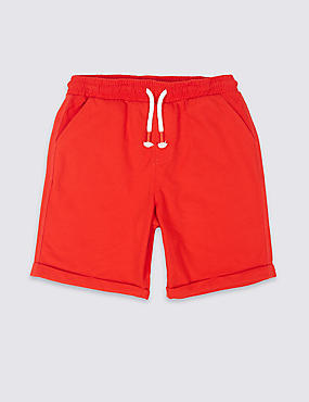 Cotton Rich Shorts (3-16 Years), RED, catlanding