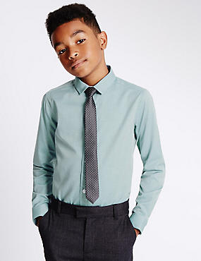 Pure Cotton Formal Shirt with Tie (5-14 Years)