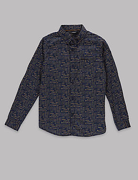 Pure Cotton Long Sleeve Printed Shirt (5-14 Years)