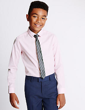 Pure Cotton Long Sleeve Formal Shirt and Tie (5-14 Years)