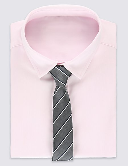 Pure Cotton Long Sleeve Shirt with Tie (5-14 Years)
