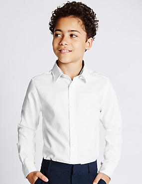 Pure Cotton Long Sleeve Herringbone Shirt (5-14 Years)