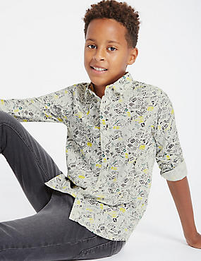 Pure Cotton All Over Print Shirt (5-14 Years)