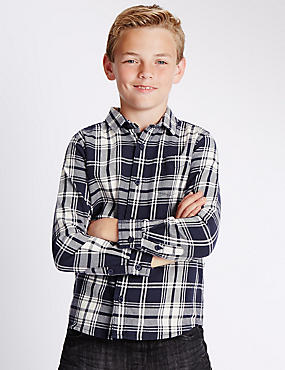 Navy Check Denim Shirt (3-14 Years)