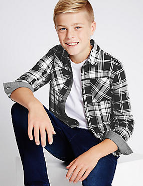 Pure Cotton Monochrome Brushed Checked Shirt (5-14 Years)