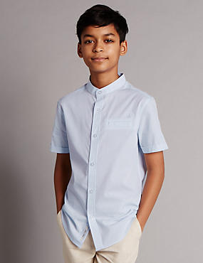 Pure Cotton Granddad Collar Shirt (5-14 Years)