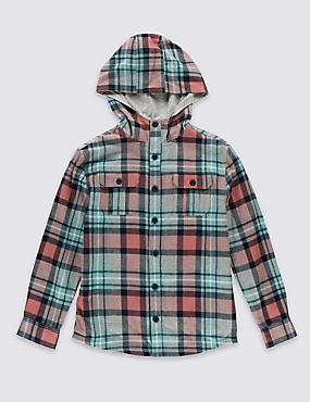 Pure Cotton Hooded Shirt (5-14 Years)