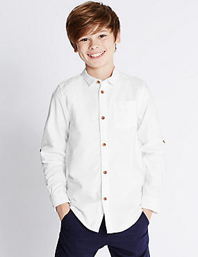 Pure Cotton Rolled Sleeve Oxford Shirt (5-14 Years)