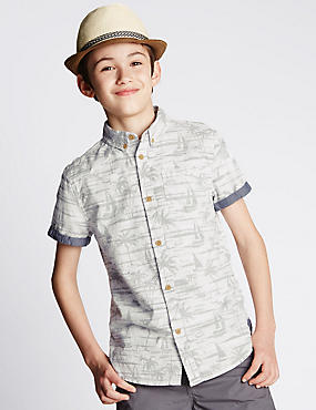 Pure Cotton Palm Print Shirt (5-14 Years)
