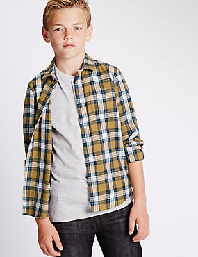 Pure Cotton Checked Denim Shirt (3-14 Years)