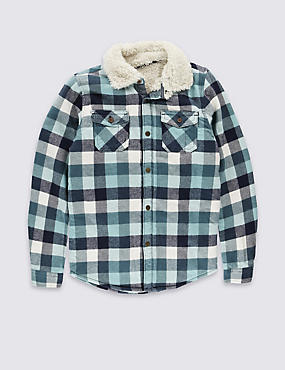 Pure Cotton Long Sleeve Checked Shirt (5-14 Years)