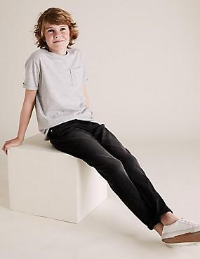 Cotton Rich Skinny Fit Jeans (3-16 Years), BLACK DENIM, catlanding