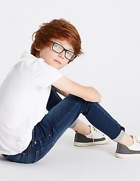 Cotton Rich Super Skinny Fit Jeans (3-16 Years), MEDIUM BLUE, catlanding