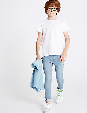 Cotton Rich Super Skinny Fit Jeans (3-16 Years), LIGHT DENIM, catlanding