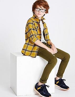 Cotton Rich Super Skinny Fit Jeans (3-16 Years), KHAKI, catlanding
