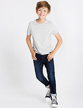 Cotton Rich Super Skinny Fit Jeans (3-16 Years), DARK BLUE DENIM, catlanding